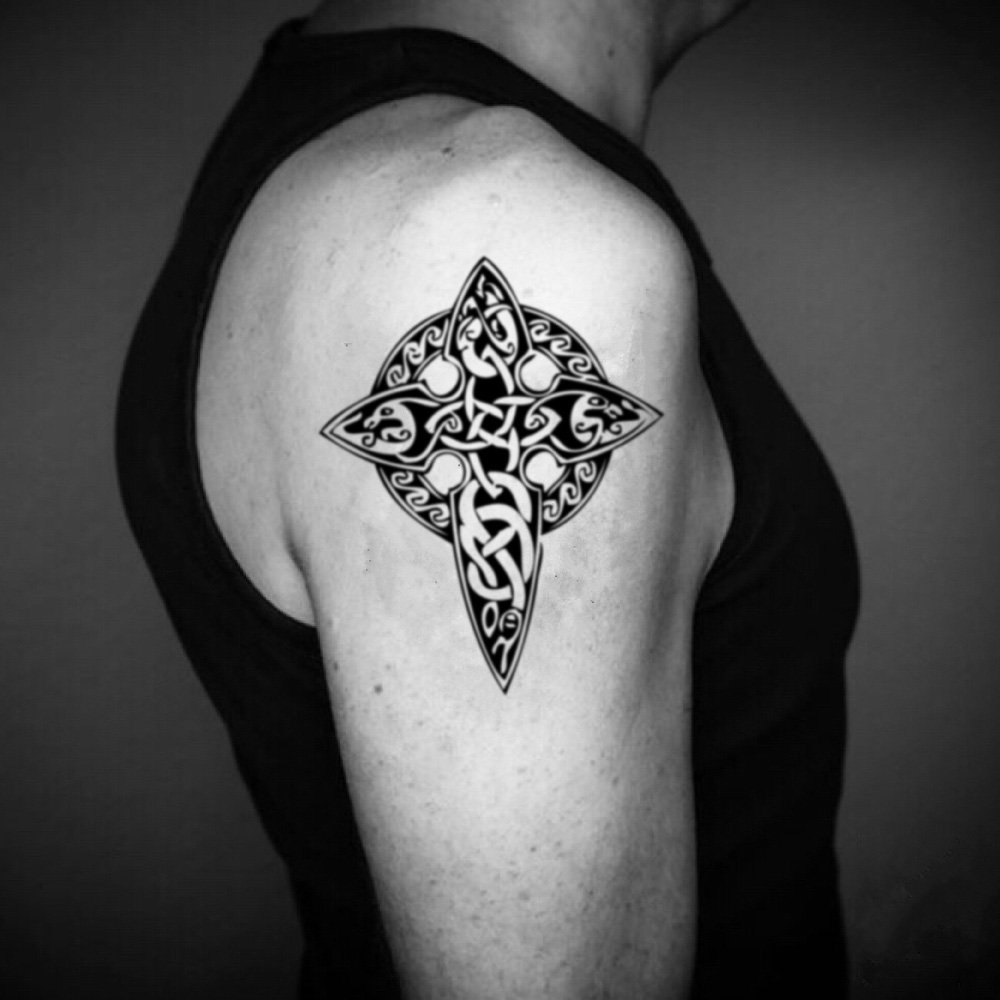 Amazon Com Celtic Cross Temporary Fake Tattoo Sticker Set Of 2 Www Ohmytat Com Beauty