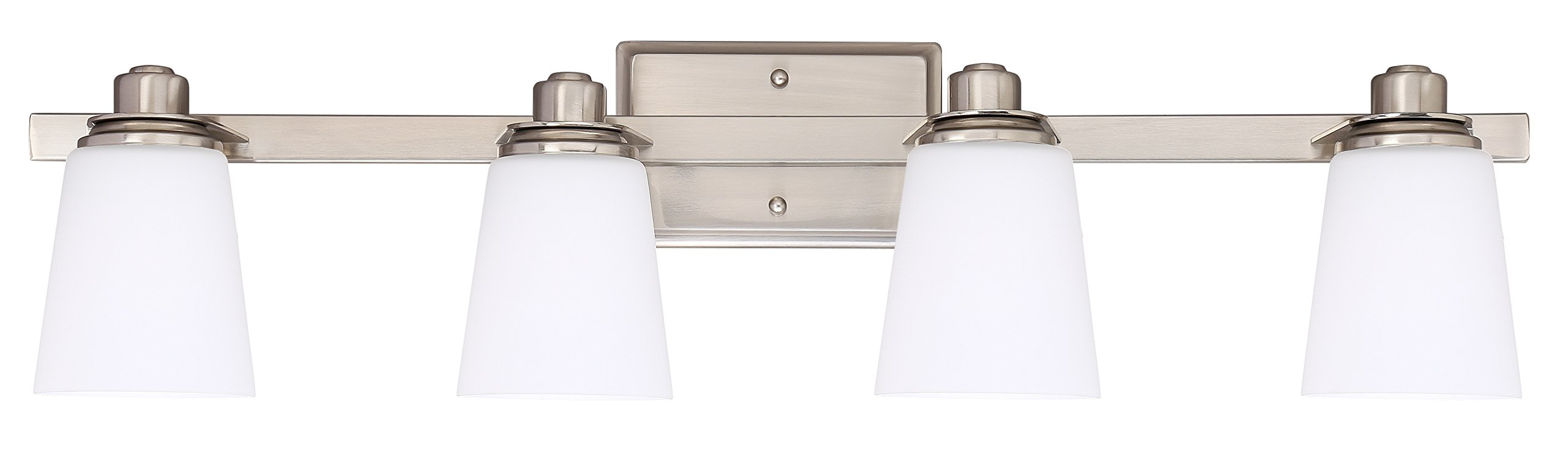 Bathroom Vanity Light Fixture,4-Light Wall Sconce with Opal Glass Shade,UL Listed,Brushed Nickel Finish