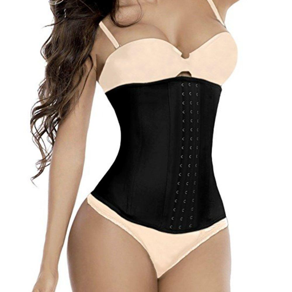 Jxts - Top Underbust Corset Waist Trainer Waist Cincher For Women Hourglass Figure Tummy Control Body Slimmer Sexy Shapewear (Black, XL)