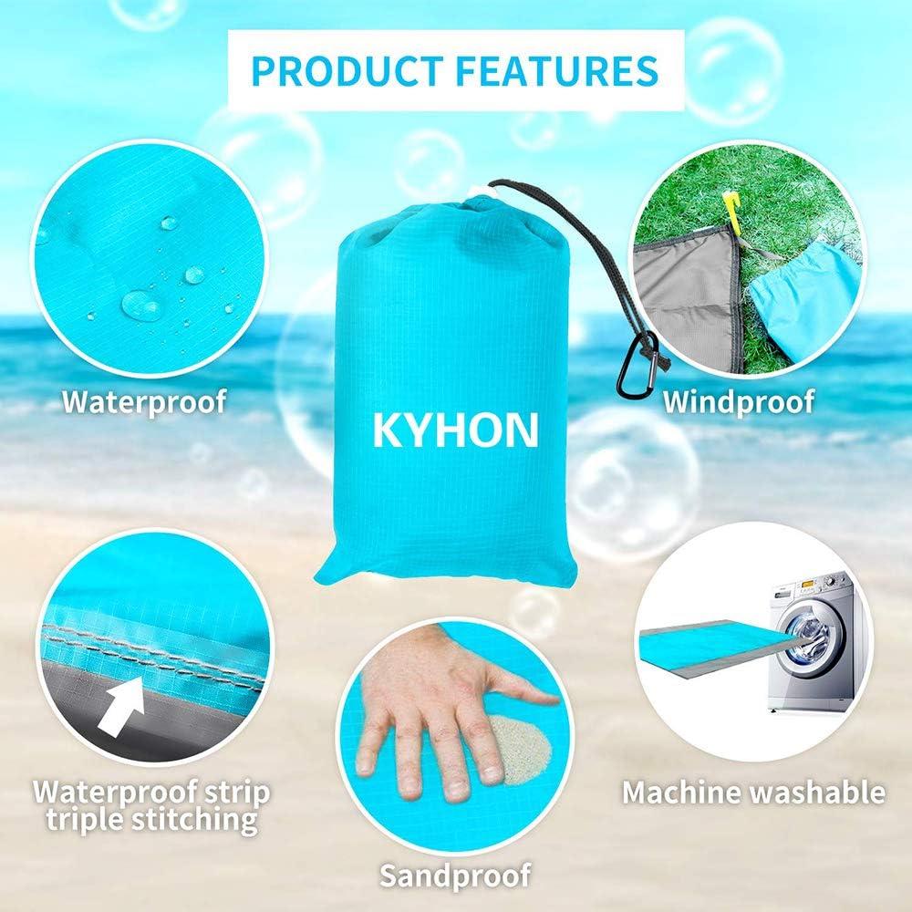 Kyhon Picknickdecke 210 x 200cm Stranddecke wasserdichte Tragbare Campingmatte Ultraleicht kompakt Wasserdicht und Sandabweisend Blue Sandabweisende Campingdecke 4 Befestigung Ecken