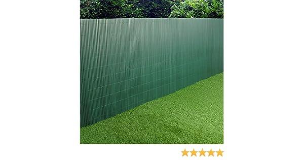 Pantalla de PVC para valla de jardín de plástico doble cara verde 3 m largo 1 m de alto: Amazon.es: Jardín