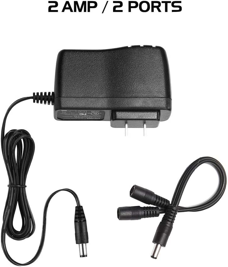 Ares Vision 2 AMP 12v DC Power Supply Adapter Plus 2CH Splitter Bundle for CCTV /& LED 2 AMP // 2CH
