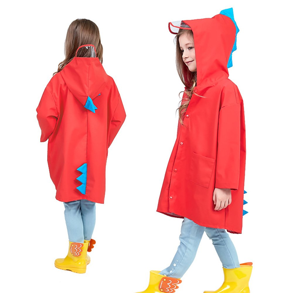 SMARTrich enfant étanche mignon Angel-dinosaur Polyester léger extérieur Dessin animé Manteau de pluie pour garçons ou filles