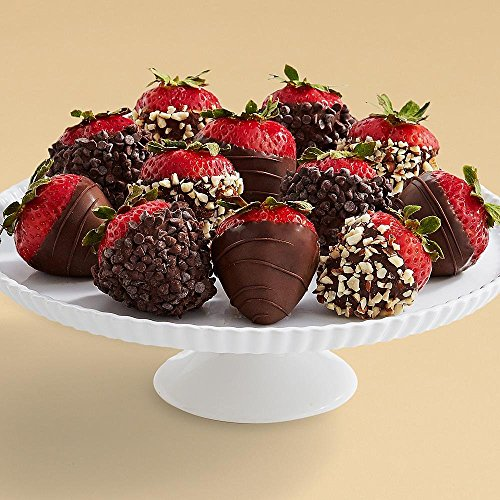 Shari's Berries - Full Dozen All Dark Strawberries - 12 Count - Gourmet Baked Good Gifts