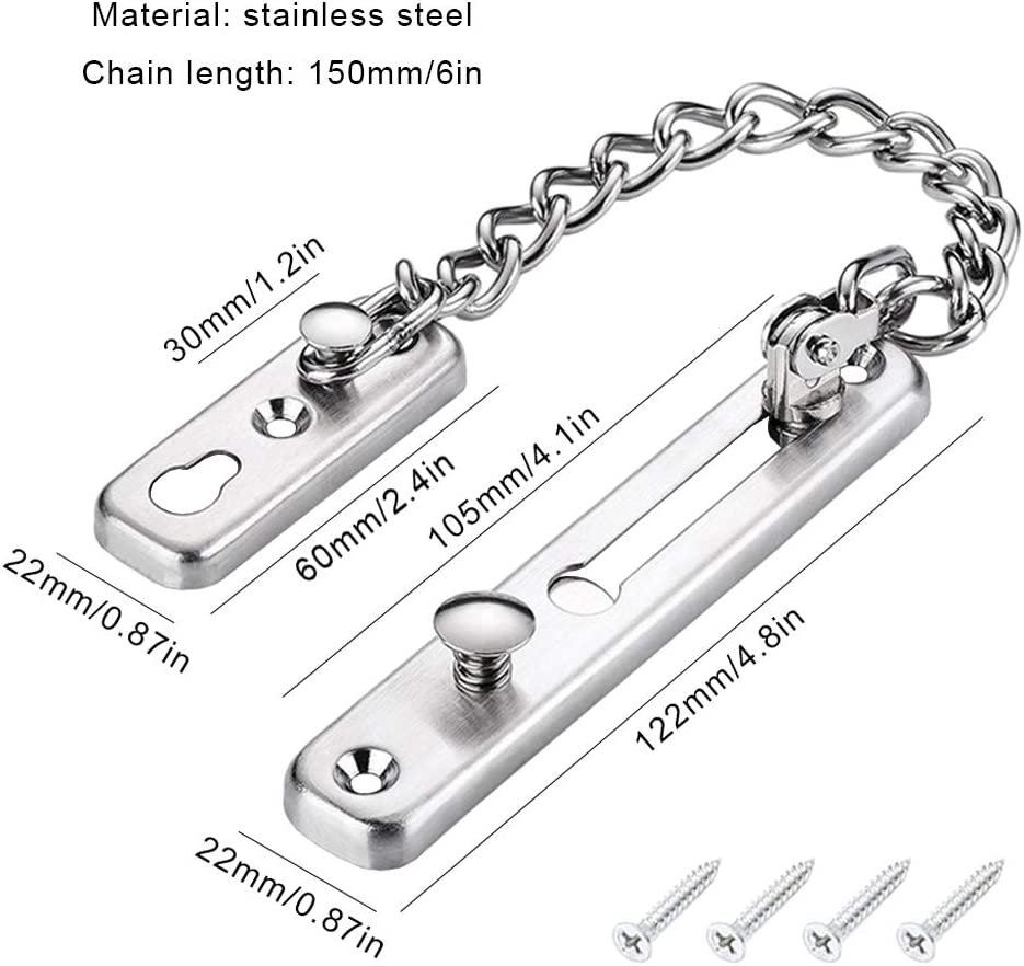 Stainless Steel Silver Finish Ceqiny Anti-Theft Chain Door Chain Lock Door Guard with Spring Anti Theft Press Lock Sliding Bolt Door Latch Heavy Duty Safety Door Lock with Spring Lock Chain