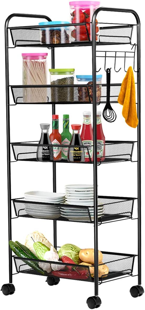Giantex 5-Tier Storage Cart Rolling Trolley Organizer Utility Cart with Lockable Wheels, 5 Hooks, Mesh Shelves for Home Kitchen, Bathroom, Office and Bedroom (Black)