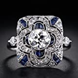 Vintage Women Men 925 Silver Ring 3.3ct White Topaz Wedding Ring Size 6-10#by pimchanok shop (6)