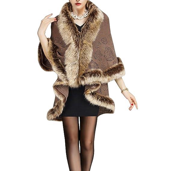 KAXIDY Mujer Abrigo de piel de Imitación Ropa de abrigo Chaquetas Capa del Mantón (Caqui