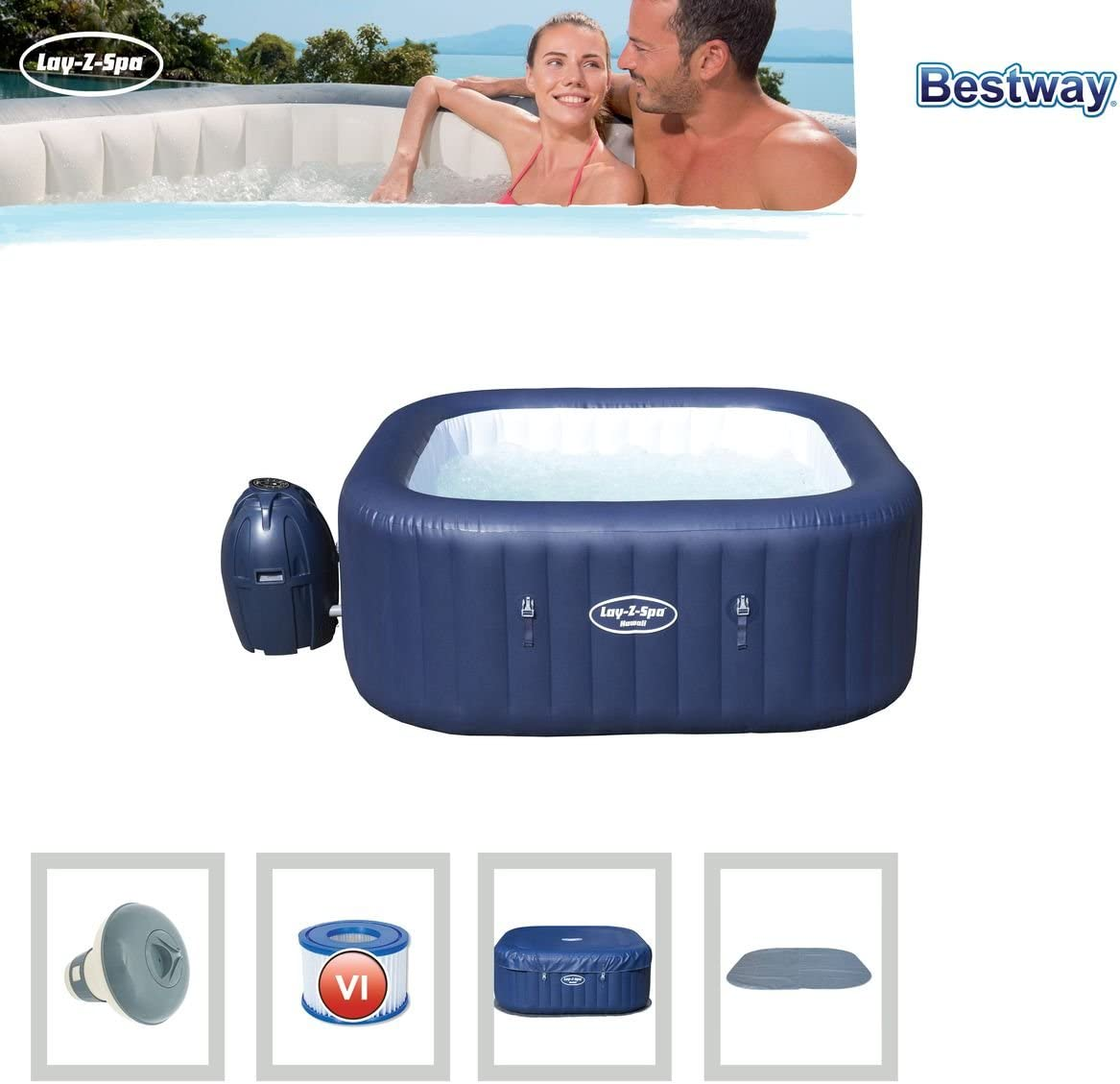 Bestway 54154 - Spa Hinchable Lay- Z-Spa Hawaii Para 4-6 personas: Amazon.es: Jardín