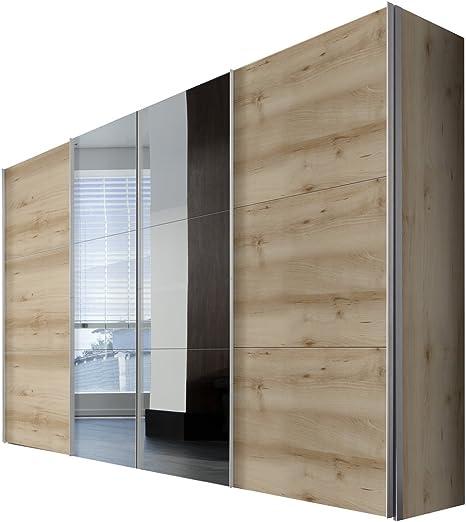 Solutions 44076 – 350 Armario con Puertas correderas, 4 Puerta, 350 x 236 x 58 cm, (Madera de Haya/Espejo, Paneles y Mango Plisada Blanco: Amazon.es: Hogar