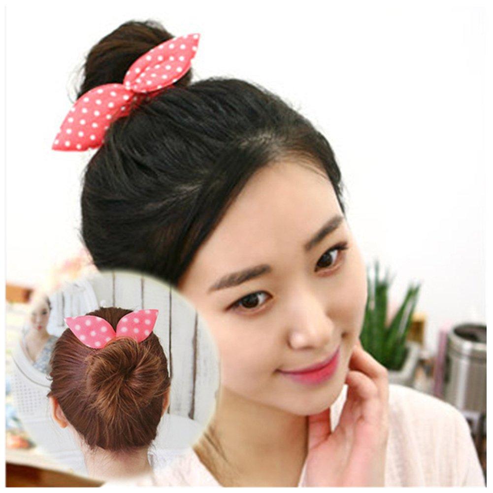 Lovef 6pcs Women S Korean Magic Hair Accessories Cute Rabbit Bunny Ear Sponge Hair Styling Tools Polka Dot Bow Hair Bun Maker Bun Curler Twist For
