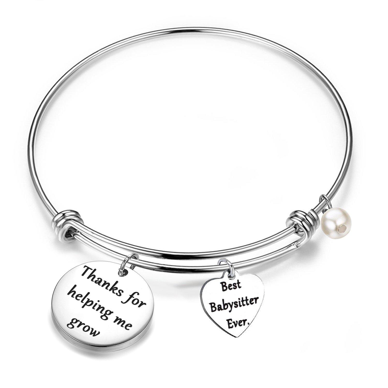 FEELMEM Babysitter Gift Babysitter Bracelet Thanks for Helping Me Grow Expandable Bangle Appreciation Gift (Silver) Stainless-Steel)