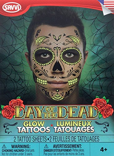 Day Of The Dead Glow In The Dark Sugar Skull Face Tattoo Kit For Men Or (Day Of The Dead Sugar Skull Costume)