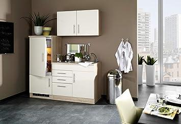 Amazon.de: Singleküche 160 cm Hochglanz Creme mit ...