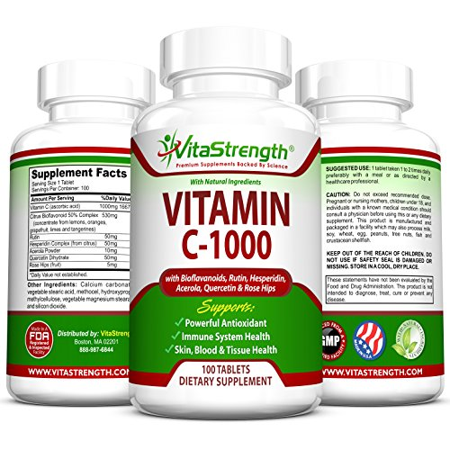Vitamin C-1000 Complete Complex with Bioflavonoids, Rutin, Aceroia, Hesperidin, Quercetin and Rose Tips- 1000 Milligrams – Powerful Antioxidant – Immune System Health – 100 Days Worth