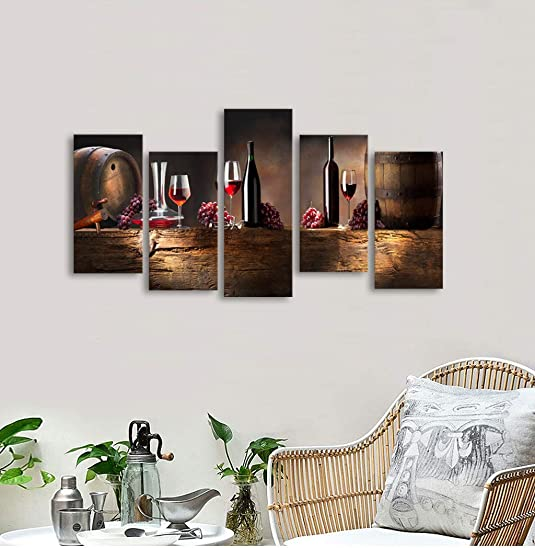 Muolunna-K61027 5 Pieces Kitchen Wall Decor Red Wine Cups HD Modern Framed Wall Art Fruit Grape Red Wine Glass Restaurant Canvas Prints Pictures Painting
