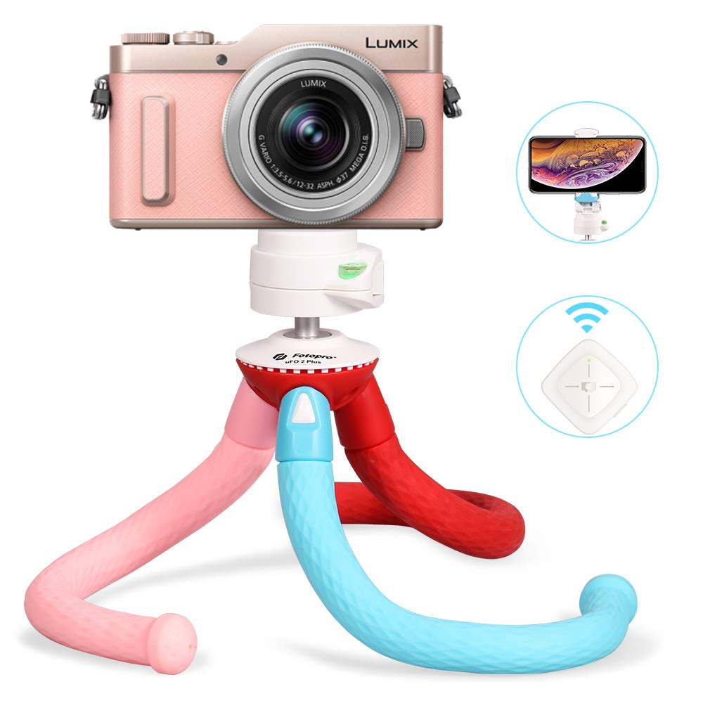 Fotopro カメラ三脚 フレキシブル三脚Bluetoothリモコン iPhone Xs Max 8 Plus サムスン Galaxy S9、Huawei P20 Pro、カメラ三脚スタンド GoPro、ミラーレスデジタル一眼レフカメラ ソニー ニコン キヤノン Lumix(トリコロ)   B07H4LCQDZ
