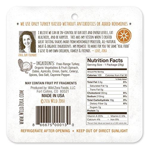 Wild Zora - Curry Free-Range Turkey & Organic Veggie Bars, 10-pack - Gluten-Free - No Antibiotics or Added Hormones