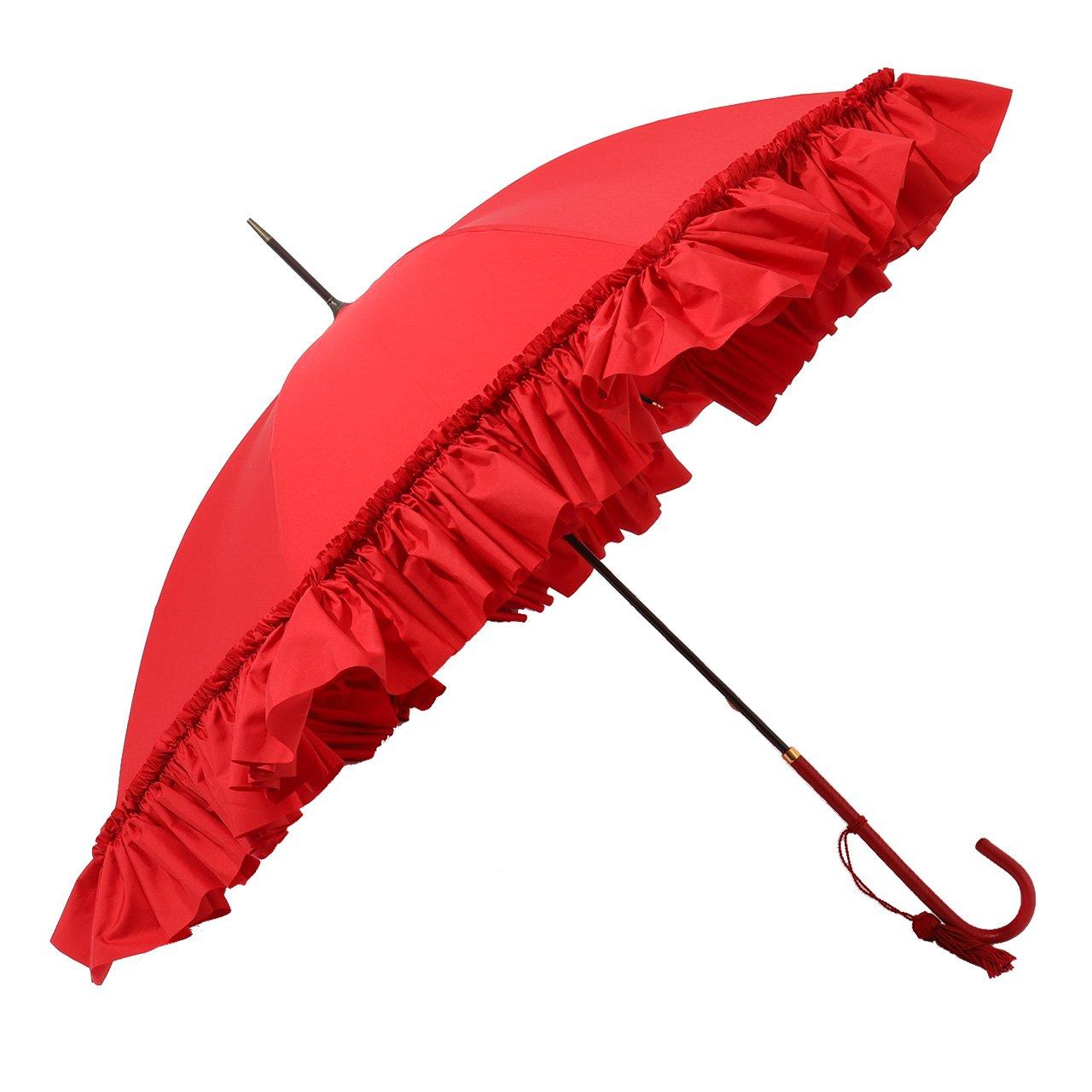 FOX UMBRELLAS フォックスアンブレラ WL9 SLIM LEATHER フリル 細革巻 ハンドル 雨傘 パラソル 雨具 タッセルチャー [並行輸入品] B07BQT8CGT /|350/RED 350/RED /