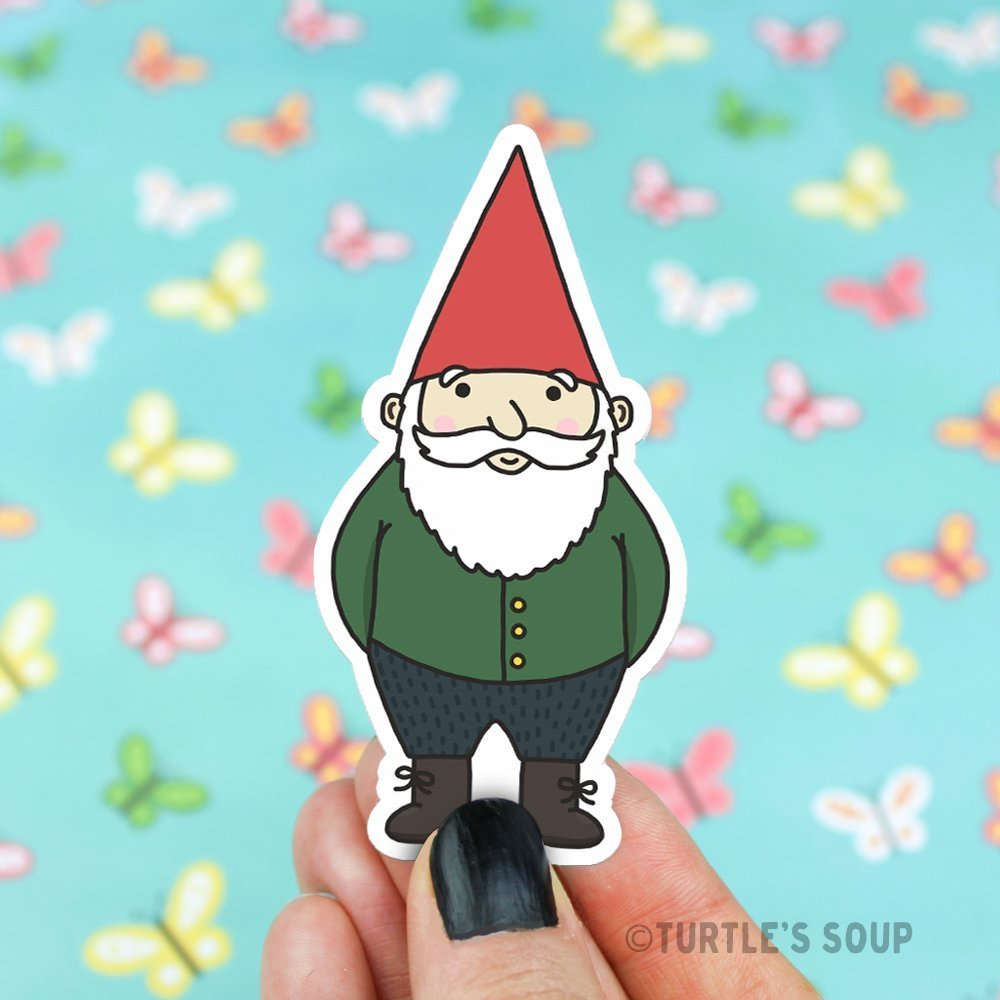 Gnome Sticker, Vinyl Decals, Fairy Garden, Miniature, Little Gnome, Gift For Him, Cute Stickers, Floral Stickers, Woodland Forest, Fantasy