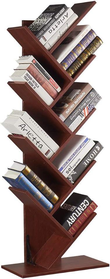 SUPERJARE 9-Shelf Tree Bookshelf, Floor Standing Tree Bookcase in Living Room/Home/Office, Bookshelves Storage Rack for CDs/Movies/Books - Cherry