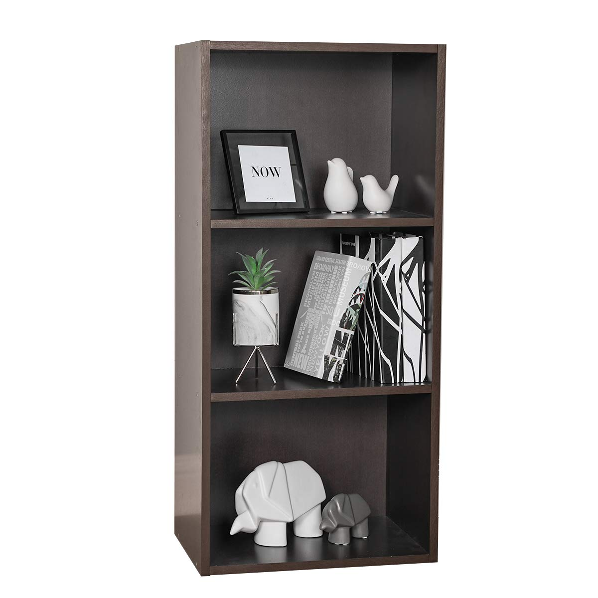 Coavas 3-Shelves Storage-Bookcase, Kids Bookshelf-Organizer for Toys, Multi-Purpose Wood Open Cabinet for Home, 35 x 11.8 x 16.5 inches Espresso