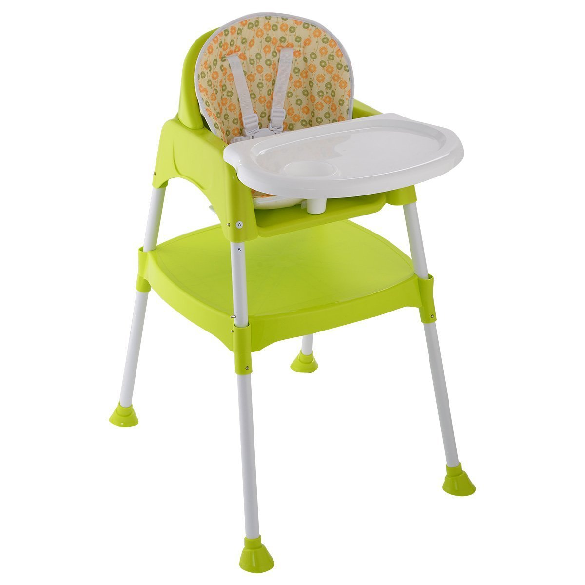Costzon Convertible High Chair, 3 in 1 Table and Chair Set, Snacker High Chair Seat, Toddler Booster Furniture, Baby Feeding with Tray & Cup Holder (Green)
