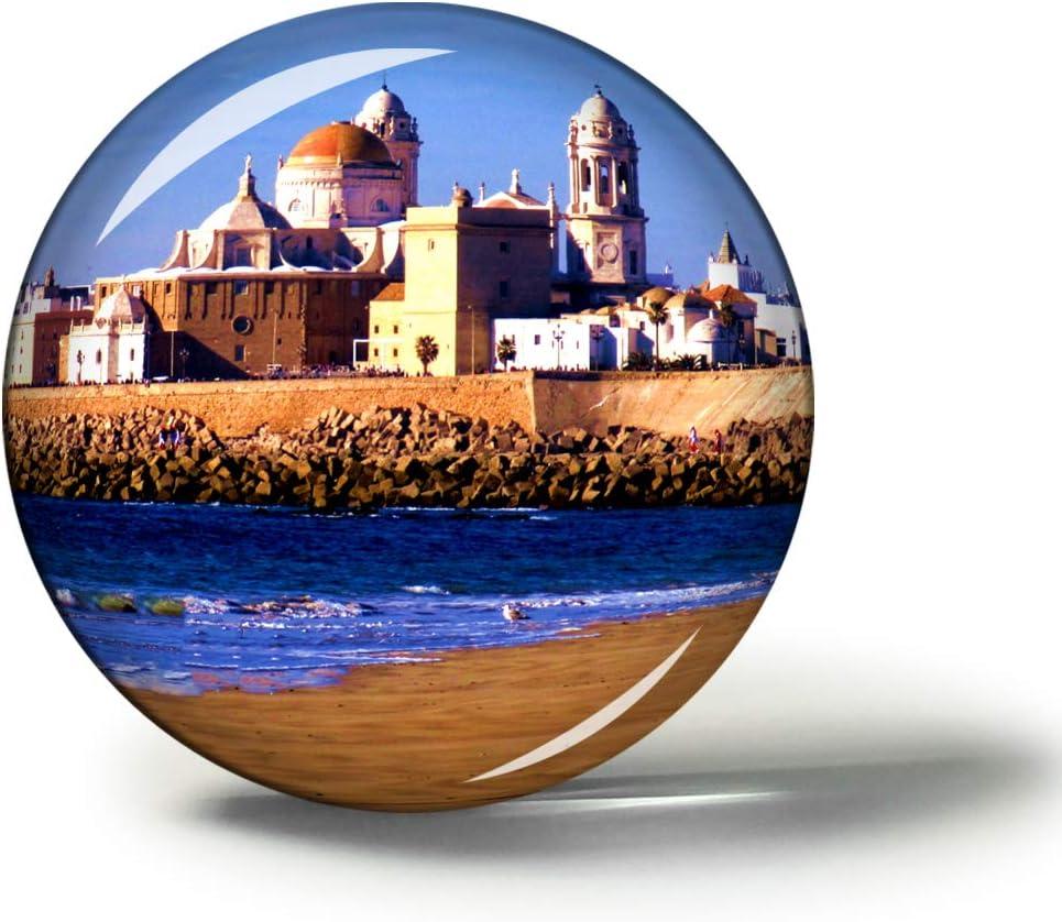 Hqiyaols Souvenir España Catedral de Cádiz Andalucía Imanes Nevera Refrigerador Imán Recuerdo Coleccionables Viaje Regalo Circulo Cristal 1.9 Inches: Amazon.es: Hogar