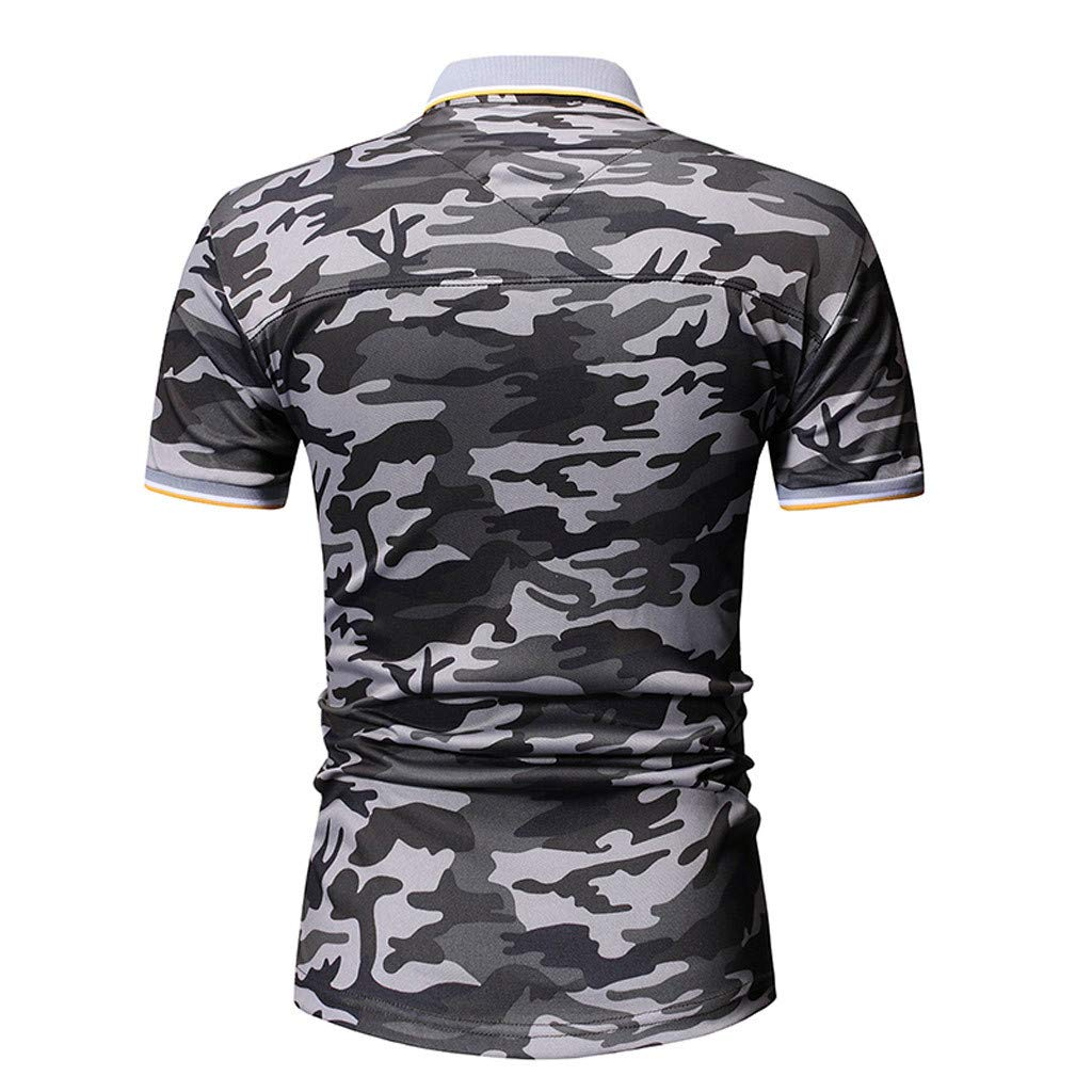TiItstoy Fashion Mens Short Sleeve Camouflage Shirts Casual Formal Lapel Slim Fit T-Shirt Tops