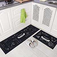 MAXYOYO Personality Kitchen Floor Mats Long Suction Machine Washable Doormat,Kitchen Area Rug 2 Pieces Set (Japanese Kitchen)