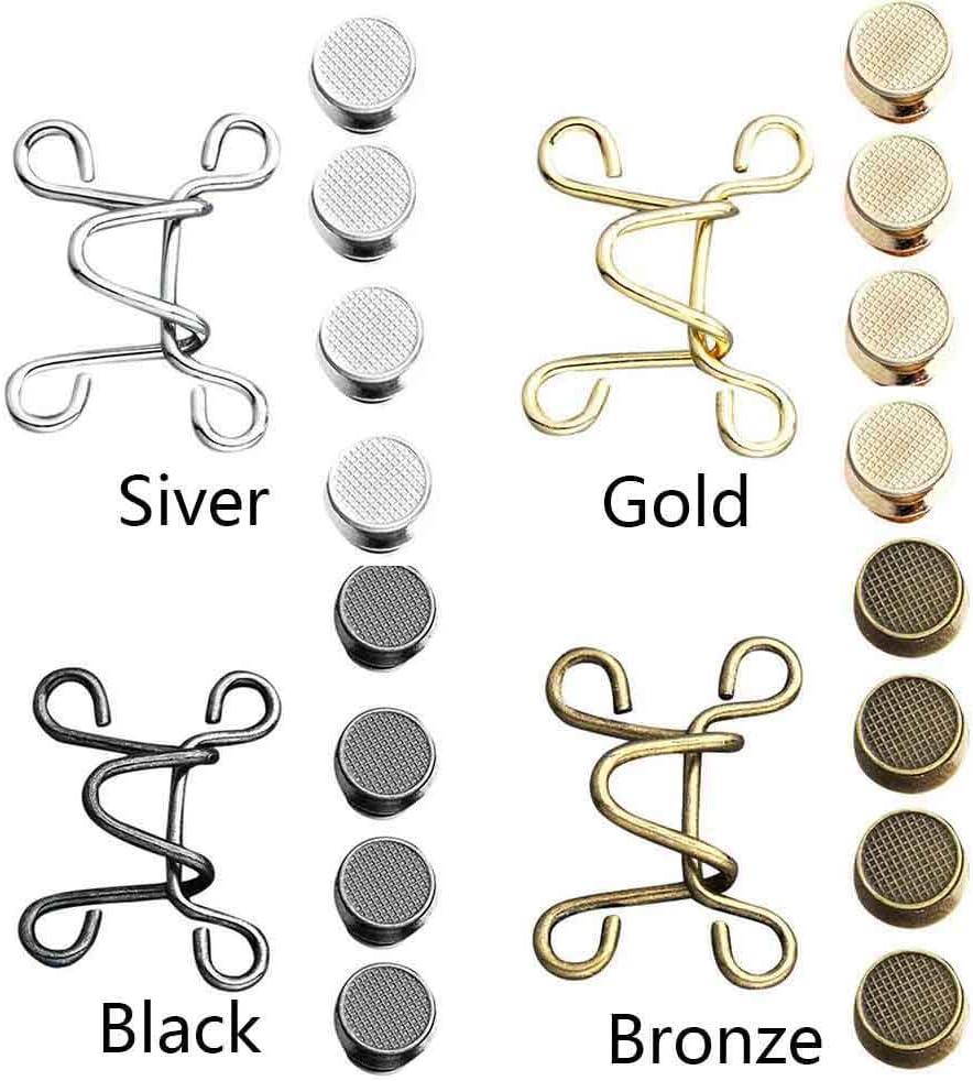 QLADY 6 Set Nagelfreie Taillenschnalle Bronze verstellbare Taillenknopf Shrink Extender Jeans Schnalle zum /Ändern der Hosenbundgr/ö/ße