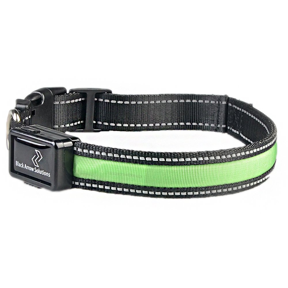 Green Medium Green Medium LED Waterproof Safety Dog Collar USB Rechargeable (Medium, Green)