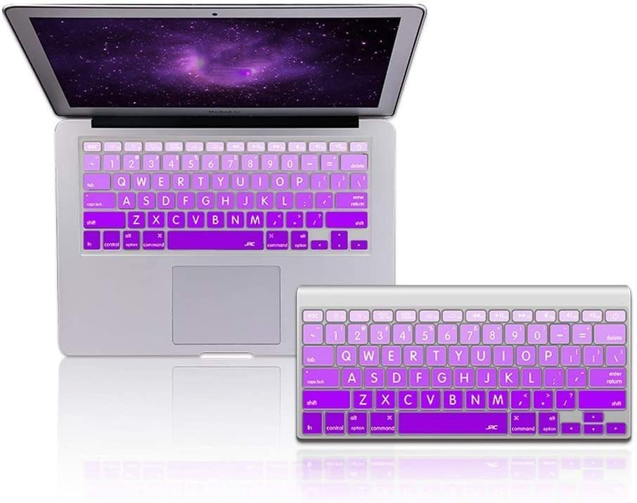 Keyboard Cover Skin Compatible for MacBook Air 13.3 15 Pro Retina Keyboard Film with Gradual Big Character 4 Colors Silicone,Violet
