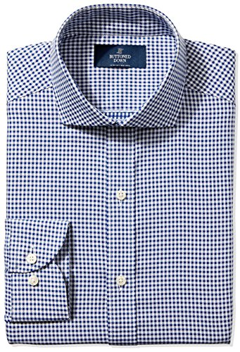 Buttoned Down Men's Slim Fit Cutaway-Collar Non-Iron Dress Shirt, Navy Small Textured Check, 15.5'' Neck 33'' Sleeve by Buttoned Down