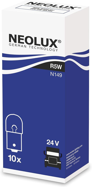NEOLUX Standard R5W, lámpara de señal para camiones, N149, 24 V, 5 W, (paquete de 10 bombillas)
