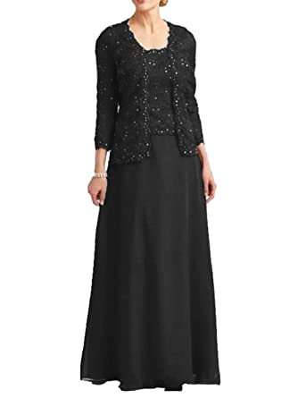 2fcc1da1b7fc7 Dressyu Lace Beaded Mother of the Bride Dress Chiffon Formal Gown with Jacket  Black US2