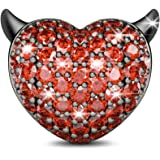 GNOCE Devil's Heart Charms Devil's Kiss Charms Pendants with Red Cubic Zirconia 925 Sterling Silver Bead Charms for Bracelet/