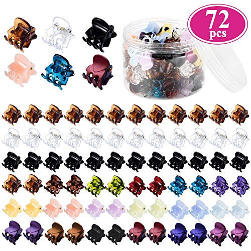 Mini Hair Claw Clips for Girls and Women, Funtopia 72 Pcs Small Hair Clips Pins Clamps Non Slip Tiny Plastic Jaw Clips (Assorted Colors) (Colored Hair Claws)