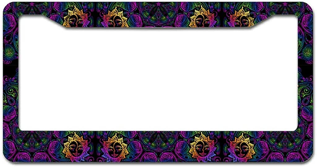 QXGIAO Sun Face Magic Mandala Flower Plant Lotus Personalized Metal License Plate Frames CAN Standard