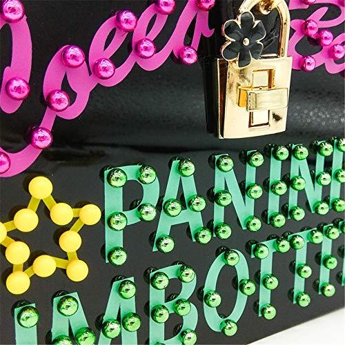 Bandolera Mujeres Las Cuadrado De Contraste Patrón Bolsos Acrílico Noche Pequeño Color Caja Carta Cruz Bolso Melodycp Elegante Diagonal RAOxHqIO
