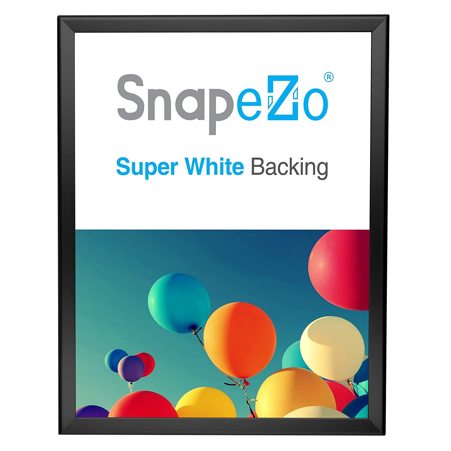 "SnapeZo Poster Frame 22x28 Inches, Black 1.25"" Aluminum Profile, Front-Loading Snap Frame, Wall Mounting, Professional Series"