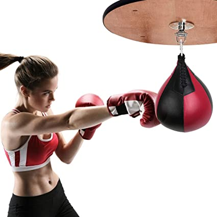 Double End PU Leather MMA Punching Boxing Speed Ball Pear Bag Dodge Gym Training