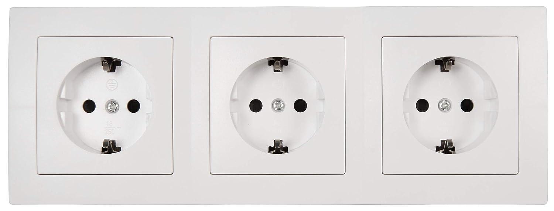 mate Bloque de enchufe plano de 3 enchufes con toma de tierra 250 V ~ // 16 A construcci/ón color blanco cocinas. ideal para la instalaci/ón en esquina por ejemplo McPower ejemplo