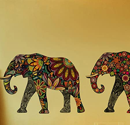 Colorful Pattern Elephant Wall Stickers Living Room Bedroom Study Corridor Decoration Wallpaper PVC Transparent Pasters