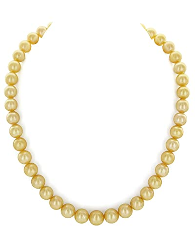 "14K Gold 9-12mm Golden South Sea Cultured Pearl Necklace - AAA Quality, 20"" Matinee Length"