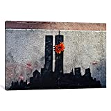iCanvasART BNK19-1PC6-18x12 Icanvas Twin Towers Tribute Print Banksy, 18'' x 12''
