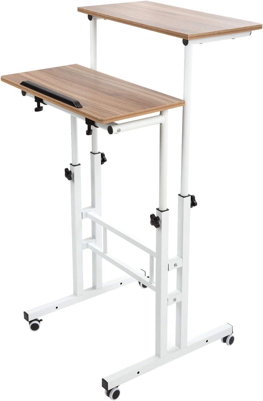 BarleyHome Mobile Stand Up Desk, Adjustable Laptop Desk with Wheels Home Office Workstation, Rolling Table Laptop Cart for Standing or Sitting, Vinatge Oak