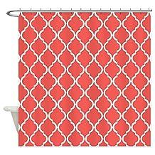 CafePress - Coral Pink Moroccan Lattice - Decorative Fabric Shower Curtain
