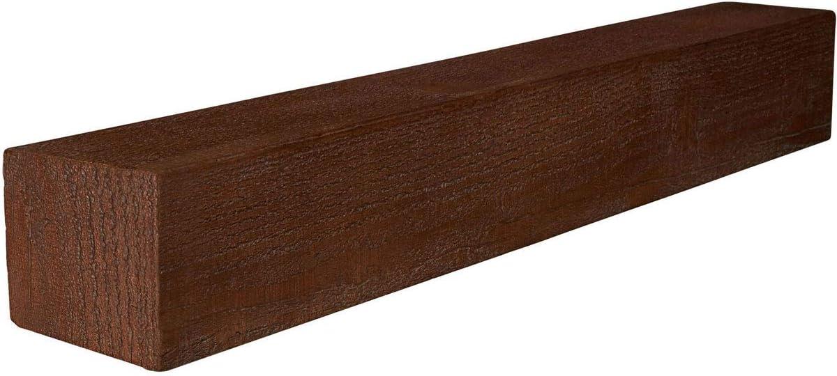 Ekena Millwork MANURS04X04X36AC Rough Sawn Faux Wood Fireplace Mantel Antique Cherry 4H x 4D x 36W Inside: 2H x 3D x 34W