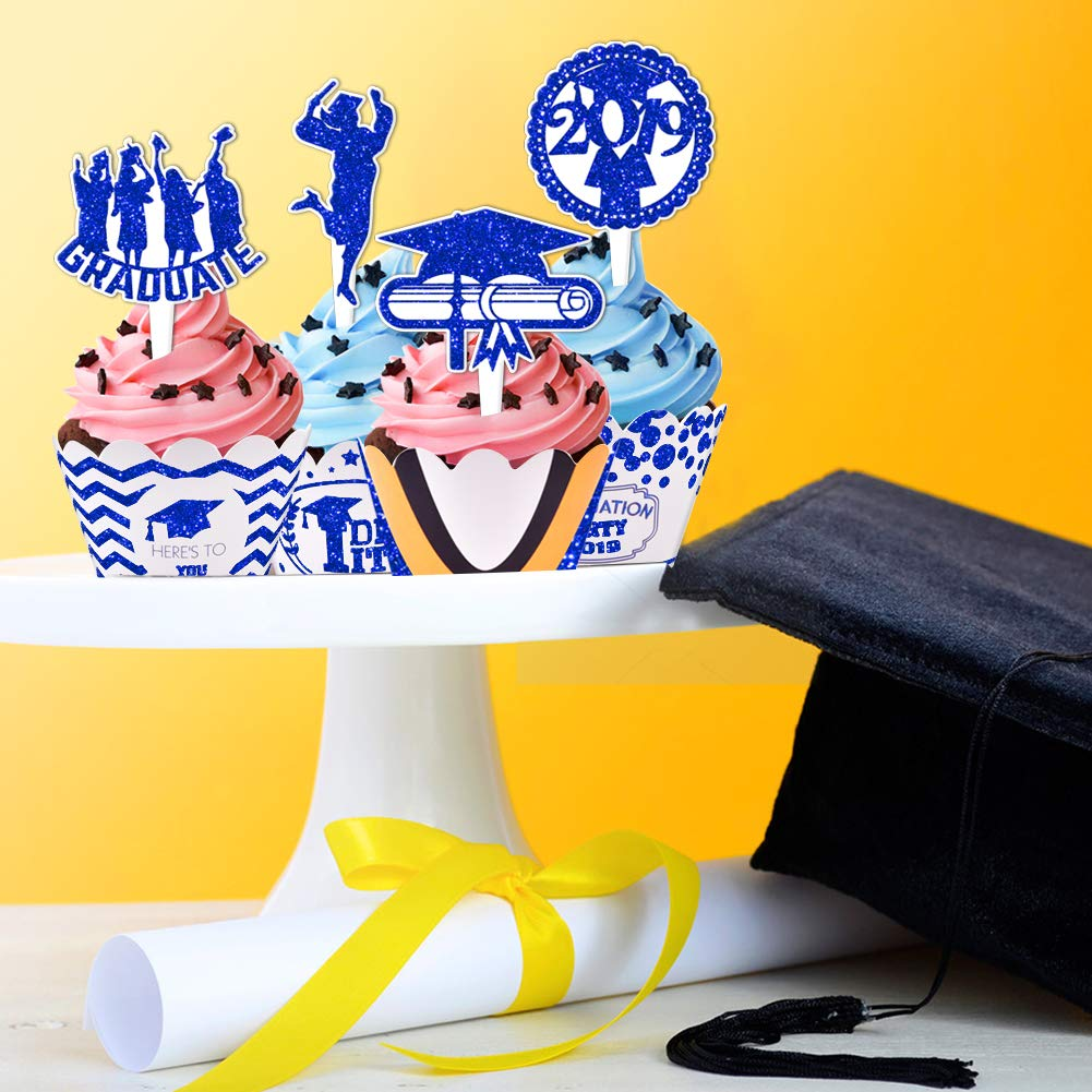 2019 Graduation Cupcake Wrappers and Toppers -Graduation Party Decoration,32 Piece Glitter Blue Cupcake Toppers For Class Of 2019 Congrats Grad Party Birthday Party Supplies Favor by Threemart (Image #6)